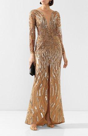 Женское платье-макси ZUHAIR MURAD золотого цвета, арт. DRR20037/EMSA003 | Фото 2