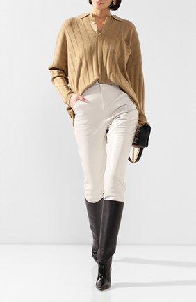 Женские кожаные брюки ISABEL MARANT кремвого цвета, арт. PA1555-20P003I/XENIA | Фото 2