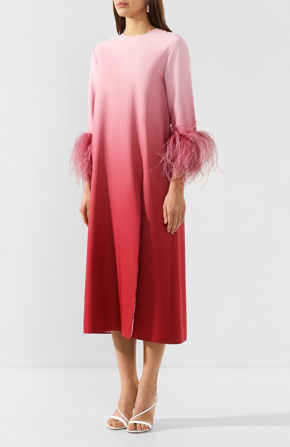 Женское платье-миди 16 ARLINGTON розового цвета, арт. D-021-S20-PNK/RED-0MBRE 0MBRE CREPE | Фото 3