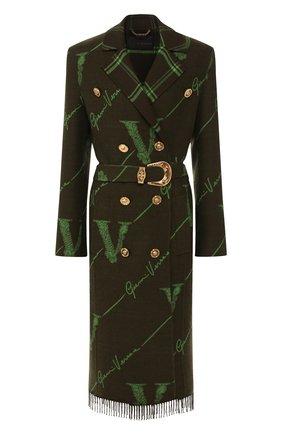 Женское шерстяное пальто VERSACE зеленого цвета, арт. A85655/A232903   Фото 1