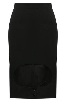 Женская шерстяная юбка BURBERRY черного цвета, арт. 4564000 | Фото 1