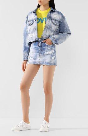 Женская джинсовая юбка DSQUARED2 синего цвета, арт. S72MA0789/S30309 | Фото 2