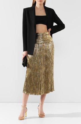 Женская юбка-миди SAINT LAURENT золотого цвета, арт. 615548/Y010R | Фото 2