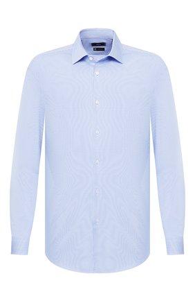 Мужская хлопковая сорочка BOSS голубого цвета, арт. 50429038 | Фото 1
