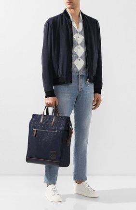 Мужская текстильная сумка-тоут MCM темно-синего цвета, арт. MMT ASKC08 | Фото 2