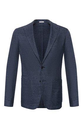 Мужской пиджак из смеси хлопка и льна LUCIANO BARBERA синего цвета, арт. 111210/19268 | Фото 1