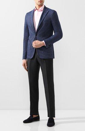 Мужской пиджак из смеси хлопка и льна LUCIANO BARBERA синего цвета, арт. 111210/19268 | Фото 2