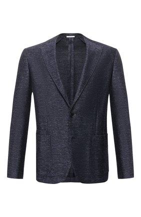 Мужской пиджак из смеси хлопка и льна LUCIANO BARBERA темно-синего цвета, арт. 111210/19269 | Фото 1