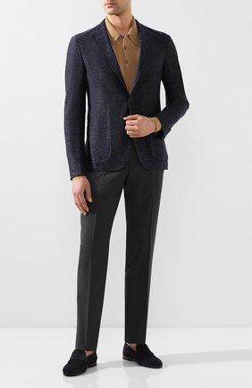 Мужской пиджак из смеси хлопка и льна LUCIANO BARBERA темно-синего цвета, арт. 111210/19269 | Фото 2
