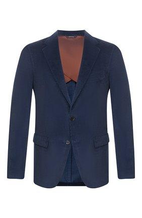 Мужской пиджак из смеси хлопка и кашемира LORO PIANA темно-синего цвета, арт. FAL0431 | Фото 1