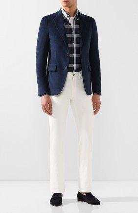 Мужской пиджак из смеси хлопка и кашемира LORO PIANA темно-синего цвета, арт. FAL0431 | Фото 2