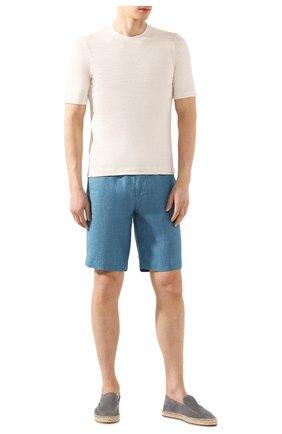 Мужские льняные шорты LORO PIANA бирюзового цвета, арт. FAI5747 | Фото 2