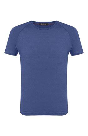 Мужская льняная футболка LORO PIANA синего цвета, арт. FAI4692 | Фото 1