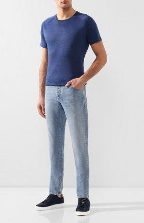 Мужская льняная футболка LORO PIANA синего цвета, арт. FAI4692 | Фото 2