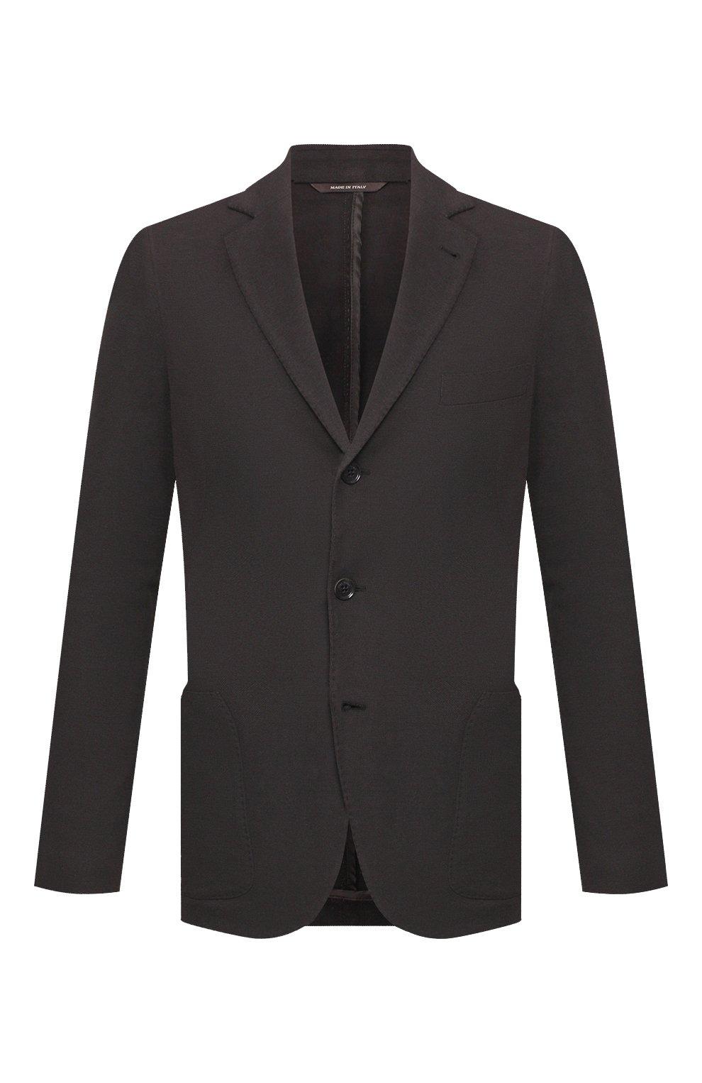 Мужской пиджак из хлопка и шелка LORO PIANA темно-серого цвета, арт. FAE8388   Фото 1