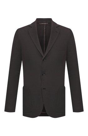 Мужской пиджак из смеси хлопка и шелка LORO PIANA темно-серого цвета, арт. FAE8388 | Фото 1