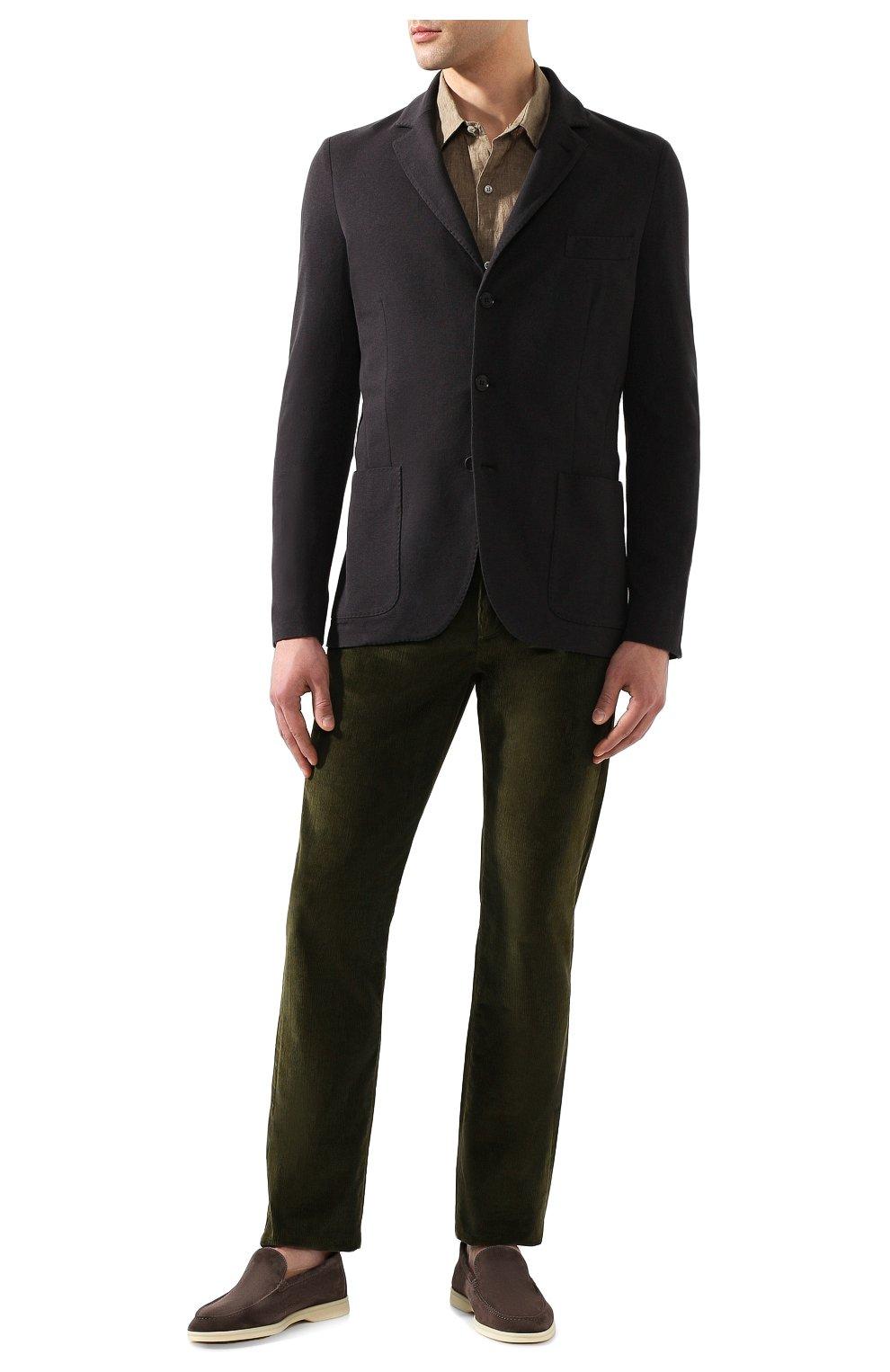 Мужской пиджак из хлопка и шелка LORO PIANA темно-серого цвета, арт. FAE8388   Фото 2