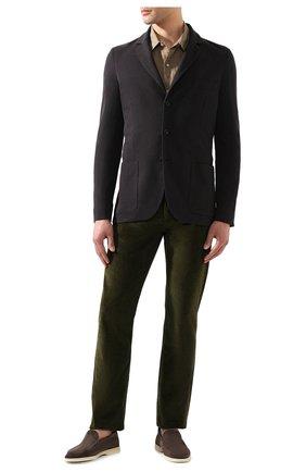 Мужской пиджак из смеси хлопка и шелка LORO PIANA темно-серого цвета, арт. FAE8388 | Фото 2