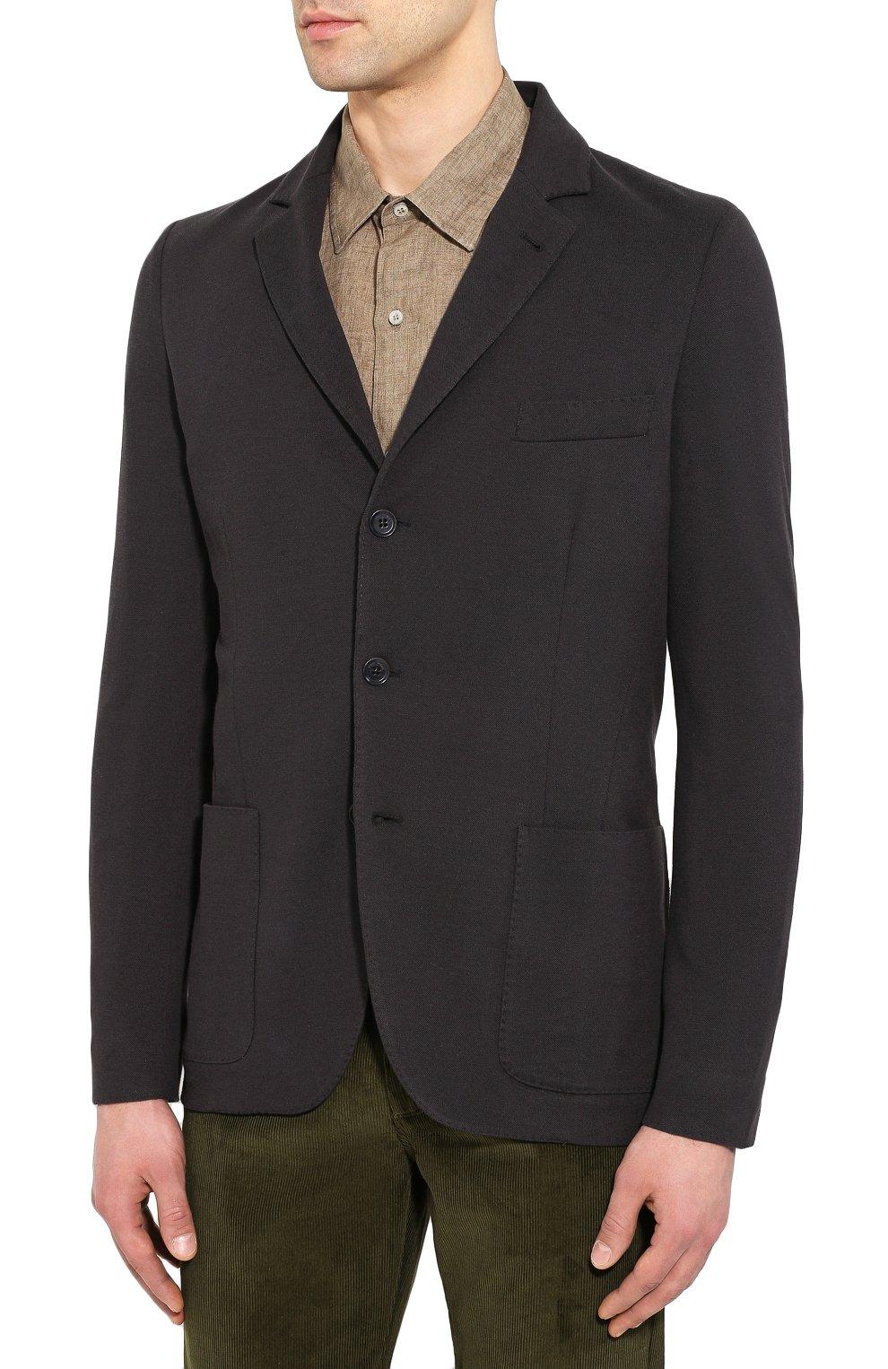 Мужской пиджак из хлопка и шелка LORO PIANA темно-серого цвета, арт. FAE8388   Фото 3