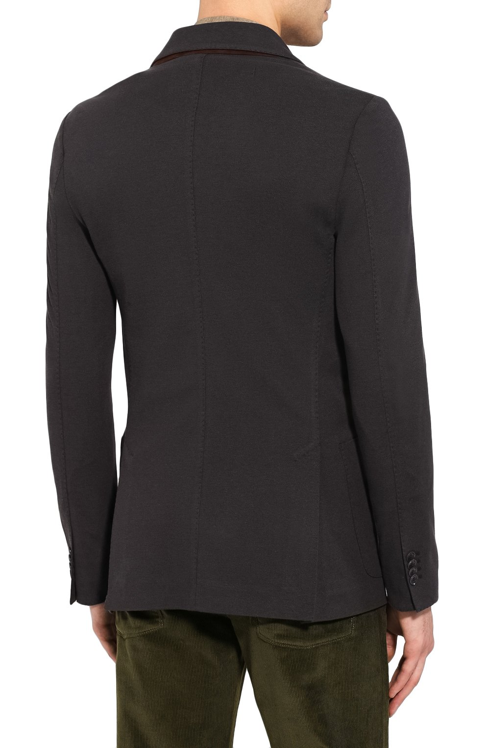 Мужской пиджак из хлопка и шелка LORO PIANA темно-серого цвета, арт. FAE8388   Фото 4