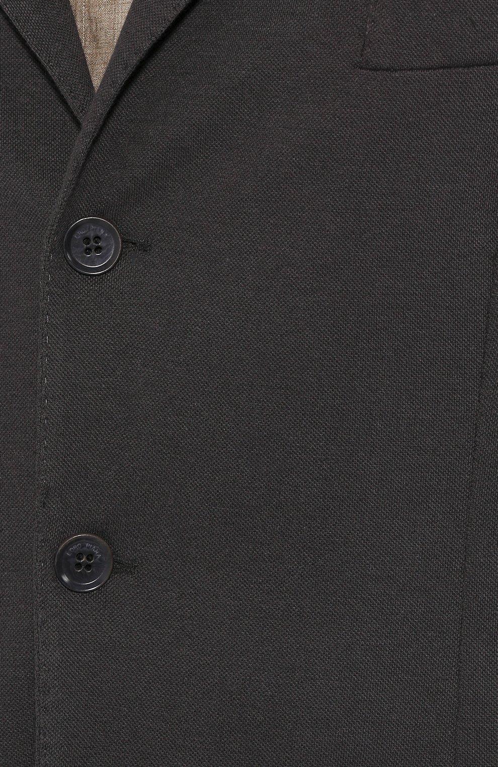 Мужской пиджак из хлопка и шелка LORO PIANA темно-серого цвета, арт. FAE8388   Фото 5