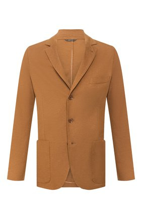 Мужской пиджак из смеси хлопка и шелка LORO PIANA коричневого цвета, арт. FAE8388 | Фото 1