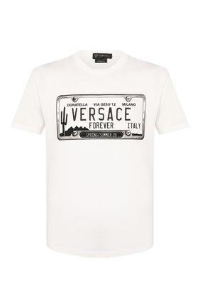 Мужская хлопковая футболка VERSACE белого цвета, арт. A86002/A228806 | Фото 1