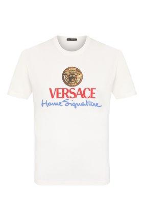 Мужская хлопковая футболка VERSACE белого цвета, арт. A85989/A228806 | Фото 1