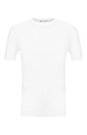 Мужской хлопковый джемпер IL BORGO CASHMERE белого цвета, арт. 55-854G0 | Фото 1