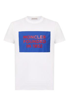 Мужская хлопковая футболка MONCLER белого цвета, арт. F1-091-8C746-10-8390Y | Фото 1