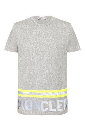Мужская хлопковая футболка MONCLER серого цвета, арт. F1-091-8C739-20-8390T | Фото 1