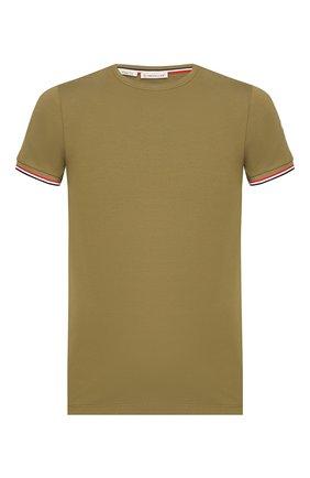 Мужская хлопковая футболка MONCLER хаки цвета, арт. F1-091-8C716-00-87296 | Фото 1