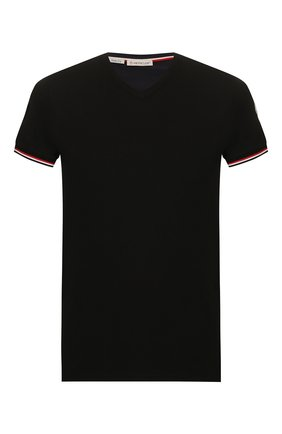 Мужская хлопковая футболка MONCLER черного цвета, арт. F1-091-8C715-00-87296 | Фото 1
