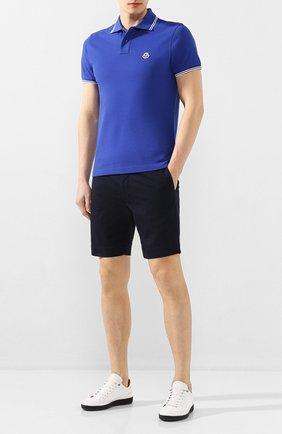 Мужское хлопковое поло MONCLER синего цвета, арт. F1-091-8A706-00-84556 | Фото 2