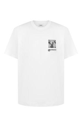 Мужская хлопковая футболка BURBERRY белого цвета, арт. 4563796 | Фото 1