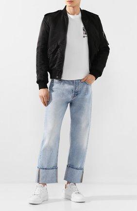 Мужская хлопковая футболка BURBERRY белого цвета, арт. 4563796 | Фото 2