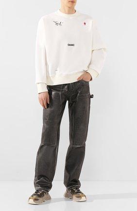 Мужской хлопковые брюки HELMUT LANG черно-белого цвета, арт. K02DM201 | Фото 2