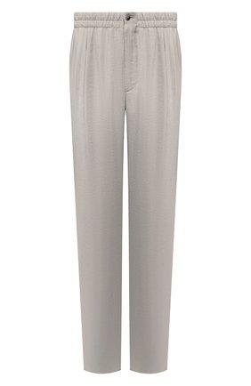 Мужские шелковые брюки GIORGIO ARMANI серого цвета, арт. 9SGPP05M/T00Q7 | Фото 1