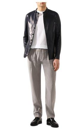 Мужские шелковые брюки GIORGIO ARMANI серого цвета, арт. 9SGPP05M/T00Q7 | Фото 2