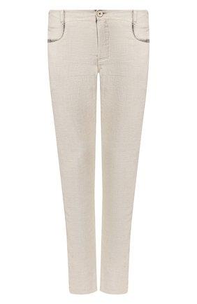 Мужской брюки из смеси хлопка и вискозы TRANSIT светло-бежевого цвета, арт. CFUTRKI180 | Фото 1