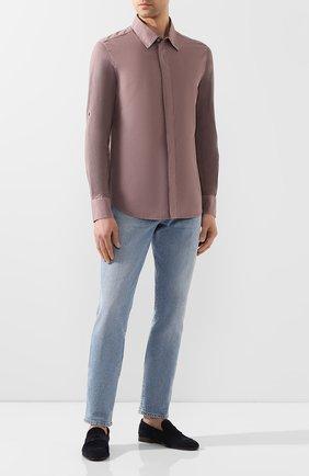 Мужская хлопковая рубашка BRIONI сиреневого цвета, арт. UJDC0L/P9611 | Фото 2