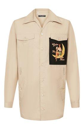 Мужская хлопковая рубашка DOLCE & GABBANA бежевого цвета, арт. G5HN2T/FU5K9 | Фото 1