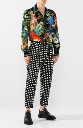 Мужские хлопковые брюки DOLCE & GABBANA черно-белого цвета, арт. GW8CAT/FSFCE   Фото 2