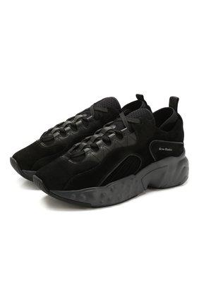 Мужские замшевые кроссовки rockaway ACNE STUDIOS черного цвета, арт. BD0047/M   Фото 1