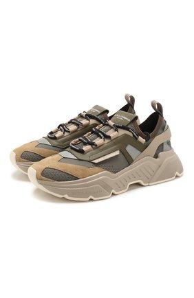 Мужские комбинированные кроссовки daymaster DOLCE & GABBANA хаки цвета, арт. CS1766/AX034 | Фото 1
