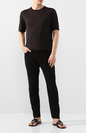 Мужские кожаные шлепанцы STEMAR черного цвета, арт. 9397002/A | Фото 2