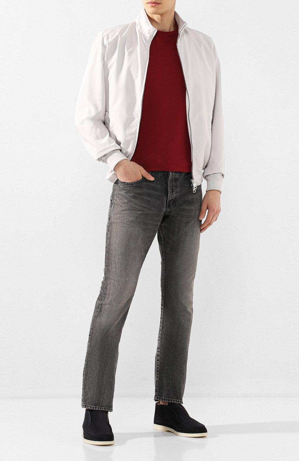 Мужские замшевые ботинки open walk LORO PIANA темно-синего цвета, арт. FAB4368   Фото 2 (Мужское Кросс-КТ: Ботинки-обувь; Материал внутренний: Натуральная кожа; Подошва: Плоская; Материал внешний: Замша)