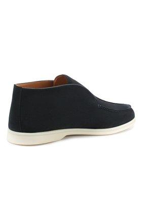 Мужские замшевые ботинки open walk LORO PIANA темно-синего цвета, арт. FAB4368   Фото 4 (Мужское Кросс-КТ: Ботинки-обувь; Материал внутренний: Натуральная кожа; Подошва: Плоская; Материал внешний: Замша)