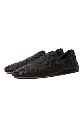 Мужские кожаные слиперы BOTTEGA VENETA черного цвета, арт. 620304/VBTR0 | Фото 1 (Материал внутренний: Натуральная кожа; Мужское Кросс-КТ: Лоферы-обувь; Стили: Кэжуэл)
