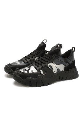 Мужские комбинированные кроссовки valentino garavani rockrunner plus VALENTINO черного цвета, арт. TY0S0C88/MHB | Фото 1